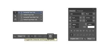 Enable character and paragraph panel