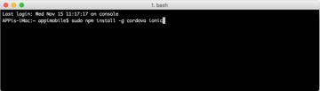 Installing Cordova and Ionic on Mac