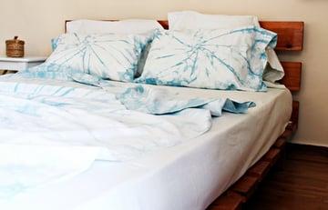 Finished shibori dyed bed linen
