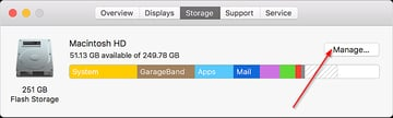 Click Manage in the Storage tab