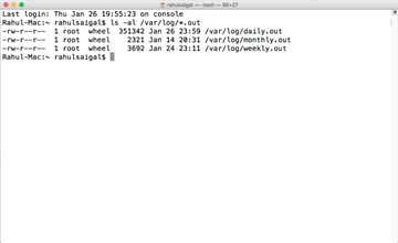 Run a terminal command to quickly check the date and time stamps of the log files associated with each maintenance script