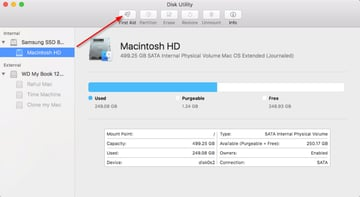Run first aid on the disk utility
