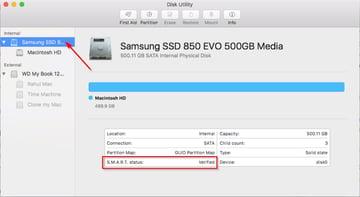 SMART status verification in disk utility app