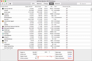 Disk tab of Activity Monitor