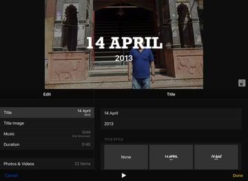 edit screen of a memory video