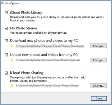 iCloud photo library option in a PC
