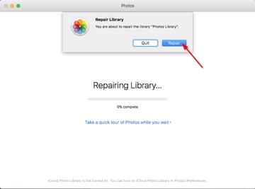 repair library of the Photos app