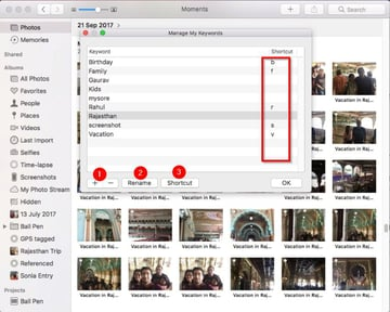 edit keyword in keyword manager of the Photos app