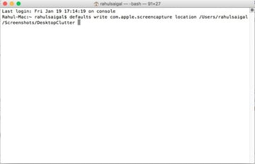 terminal command to change the screenshot folder