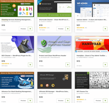 Topselling Cleaning and Maintenance Plugins on CodeCanyon