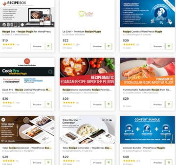recipe plugins on CodeCanyon and Envato Elements