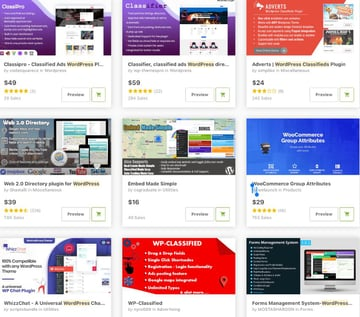 Topselling Classified Plugins for WordPress on CodeCanyon