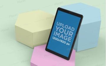 Samsung Galaxy A Tab Mockup with Hexagonal Prisms