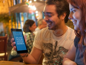 Couple Using Nexus on a Romantic Date Android Mockup Template