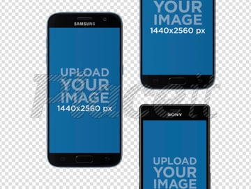 Mockup Featuring Three Android Phones in Portrait Position Over a Transparent Background