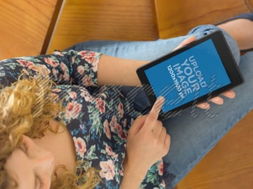 Android Mockup of Girl Using Nexus at Staircase