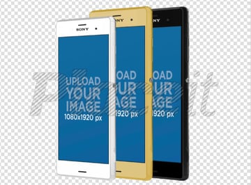 Sony Xperia Android Phones Lined Up in Angled Position Mockup