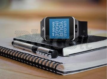 Mockup of a Samsung Galaxy Gear 2 over an Agenda