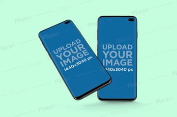 Minimal Mockup of Two Samsung Galaxy S10 Placed Against a Solid Color Backdrop