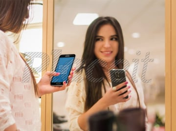 Samsung Galaxy S5 Mockup Girl Reflection on Mirror
