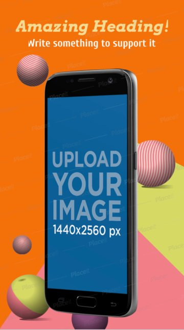 Screenshot Mockup of a Floating Samsung Galaxy in Portrait Position