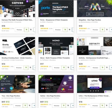 multipurpose and one page HTML website templates