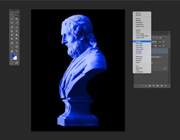 Add a blue layer and set the blending mode to overlay
