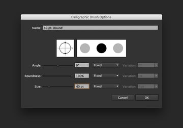 Change the size of the brush on the Calligraphic Brush Options