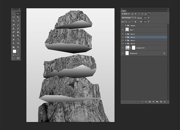 Using the Transform Tool rotate the shapes to add movement