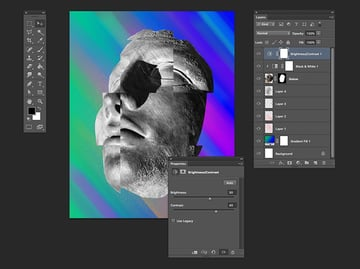 Add an adjustment layer to tweak the brightness contrast of the overall file
