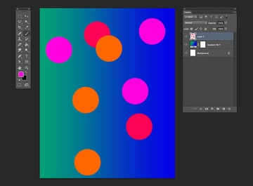Using the brush tool use the colors orange magenta and red and create brush stamps over the new layer