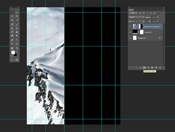 Using the marquee tool select create a layer mask on the left side of the poster