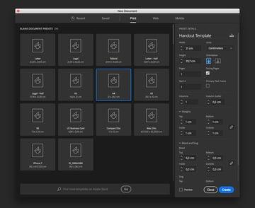 Create a new A4 file