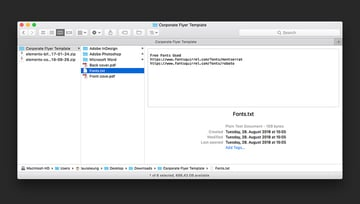 Decompress the zip file and check for font links