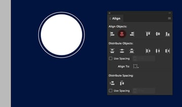 Create two circles using the ellipse tool One with an outline and one solid Use the align panel to align them