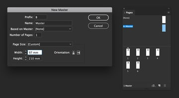 Create a new Master page to fit the fold in the brochure