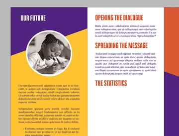 How to Make Brochure Pamphlet Design Tutorial on page 5 add text to the top half of the panel