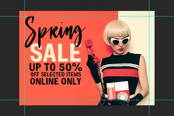 move the text on the banner and change the color of the Sale word