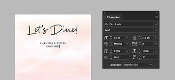 add names and date under the title on the menu design