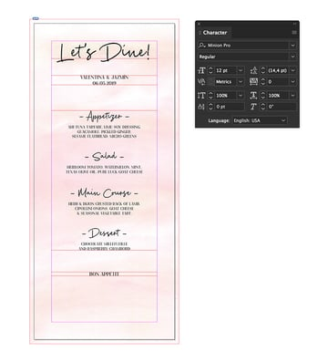 add a final line on the menu card template