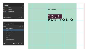 add a text frame to include the title of the portfolio