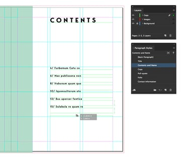add text frames to include page numbers and their contents