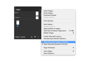 on the pages panel select the allow document pages to shuffle