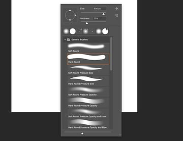 select the hard round brush and set the size to 500 px and hardness to 25