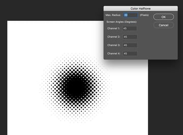 click once on the document and apply the color halftone filter