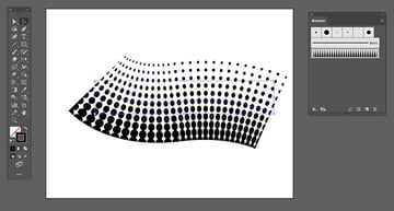 using the pen tool draw a line and choose the pattern as a stroke