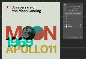 create a new layer to include anniversary of the moon landing and place it on the second column