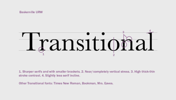 Transitional fonts