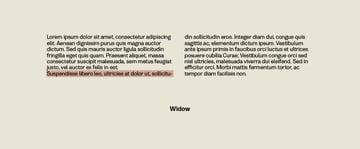 Widows in Typesetting