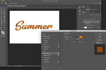 how to use SVG fonts in Photoshop select the blending option and color